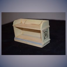 Old Miniature Doll Hanging Painted Wood Cabinet Dollhouse W/ Tole Painting