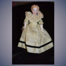 Sweet Antique Miniature Doll Dollhouse Bisque Fancy Lace up Boots
