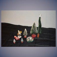 Vintage Christmas Tree Wreath Elf Baby Doll Miniature Dollhouse Accessories