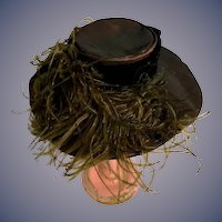 Vintage Doll Hat Bonnet Artist Hand Made Fab W/ Big Feathers and Ribbon Wide Brim