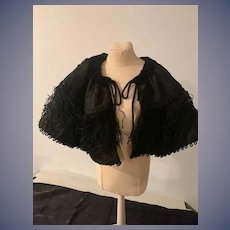 Old Doll Fancy Cape Shawl W/ Embroidery and Fringe French Market