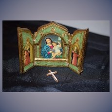 Old Doll Miniature Religious Folding Screen Prayer Cross Dollhouse Italian