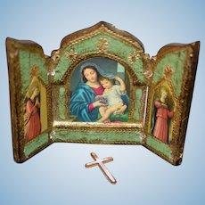 Old Doll Miniature Religious Folding Screen Prayer Cross Dollhouse Italian
