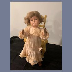 Antique Doll Wood Schoenhut Character Doll Teeth Showing