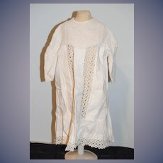 Wonderful Old Fancy Doll Dress White Wear Fab Embroidery Lace Charming