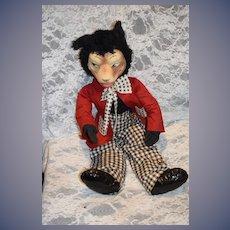 "Old Wonderful Big Bad Wolf Mask Face Stuffed Animal Doll Large 26"" Tall"