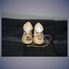 Antique Doll Shoes Oil Cloth W/ Pom Pom's Sweet