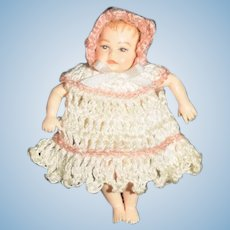 Vintage Miniature Artist Doll Dressed Baby Dollhouse Heidi Ott TINY