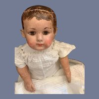 "Antique Oil Cloth Doll Ella Smith Alabama Baby SWEET 25"" Tall Antique Clothes"