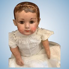 "Antique Oil Cloth Doll Ella Smith Alabama Baby SWEET 25"" Tall Antique Clothes"