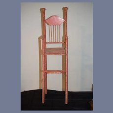 Old Wood Doll Chair Old Pink Paint Spindle Twisted Legs Display