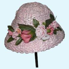 Artist Doll Hat Bonnet Straw W/ Flowers Janice Custom Milliner Wonderful