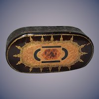 Old Miniature Leather Italian Fancy Tooled Leather Perfect For Fashion Doll Trunk Lidded Box