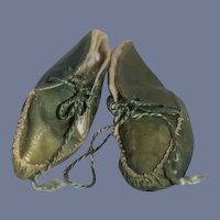 Old Doll Green Soft Leather Doll Shoes Sweet