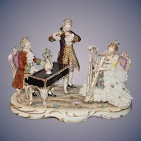 Old Dresden Lace Musical Grouping Figurine Figural Porcelain Large