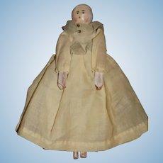 Old Doll Petite Size Grodnertal Doll Wood Pegged Dressed Unusual