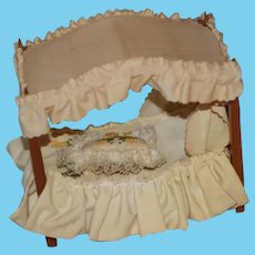 Sweet Doll Canopy Four Poster Bed Wood Miniature Dollhouse