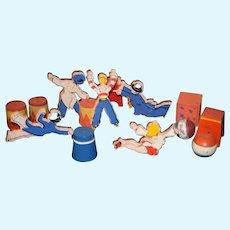 Old Schoenhut Circus Blocks Stands Stools W/ Unusual Characters Not Schoenhut Circus Dolls Mixed Lot