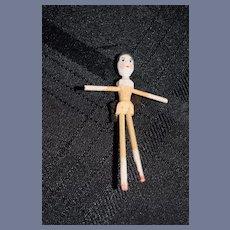Vintage Miniature Wood Doll Pegged Dollhouse Grodnertal