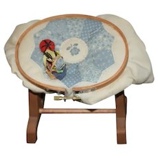 Vintage Artist Doll Wood Quilt Quilting Rack Wood Miniature Sewing Items Sewing Basket