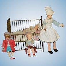 Wonderful Old Miniature Caco Dolls W/ Metal Bed Dollhouse Fab Doll Crib