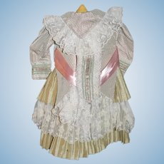 Wonderful Doll Dress W/ Antique Lace Trim and Vintage Material Gorgeous Screams French Market
