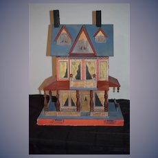 Vintage Litho & Wood Dollhouse Two Story Sweet Size Gottschalk Bliss House Kit Blue Roof