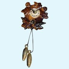 Old Doll Miniature Metal Fancy Cuckoo Clock Coo-Coo Clock Dollhouse Hanging