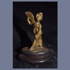 Old Doll Miniature Victorian Girl W/ Fan Metal on Wood Stand Figurine Dollhouse