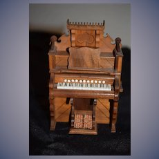 Wonderful Doll Warren Dick Artist Signed Upright Wood Carved Piano WOW Dollhouse Miniature