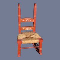 Vintage Tynietoy Tynie Toy Wood Painted Miniature Rocking Chair