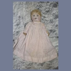 Antique Doll Oil Cloth Painted Features Wonderful Folk Art