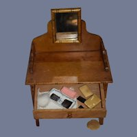 Antique Doll Wood Miniature Vanity Mirror Fashion Doll