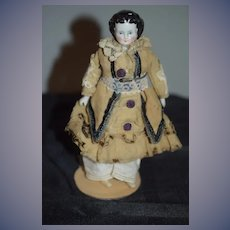 Antique Doll China Head Miniature Dollhouse Dressed Charming