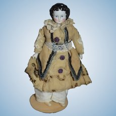 Antique Doll China Head Miniature Dollhouse Dressed Charming