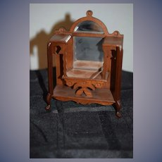 Sweet Vintage Wood Doll Miniature Curio W/ Mirror Ornate Dollhouse Hall Tree