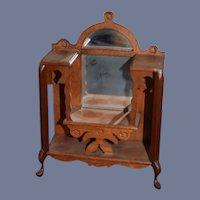 Sweet Vintage Wood Doll Miniature Curio W/ Mirror Ornate Dollhouse Hall Tree