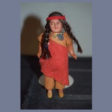 Antique Doll Indian Bisque Doll Jointed Original Costume