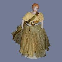 Antique Doll Bisque Dollhouse Doll Lady Original Clothes