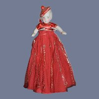 Antique Doll in Original Crepe Outfit with Molded Hat Bonnet Head Miniature