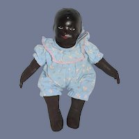 Wonderful Vintage Black Sculpted Doll Unusual Painted Features Oil Cloth Body