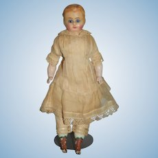 Antique Doll Wax over Papier Mache Glass Eyes Wonderful Squeaker Antique Clothing