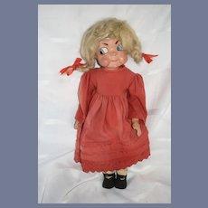 Antique Papier Mache Character Doll Side Glancing Eyes Wonderful Comical European