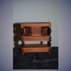 Wonderful Doll Miniature Artist Cabinet Carved Wood Ornate Warren Dick