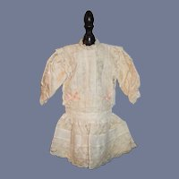 Wonderful Doll Dress W/ Old Lace Drop Waist French Market