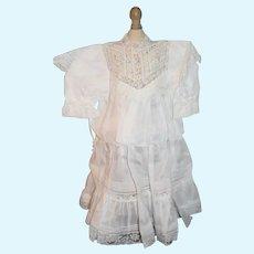 Vintage Beautiful Doll Dress White W/ Lace Gorgeous