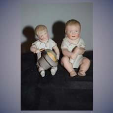 Old Bisque Doll Piano Baby Set Two Figurine Adorable