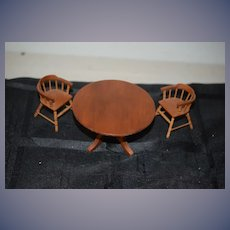 Wonderful Doll Miniature Table and Chairs Artist By Warren Dick Pedestal Table