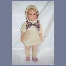 Old Cloth Doll Painted Features Child Signed Unusual