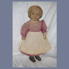 "Old Doll Large Cloth Printed Face Wonderful 25"" Tall Dressed"